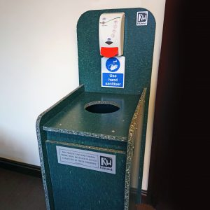 sanitiser PPE recycling bin recycled plastic made sustainable