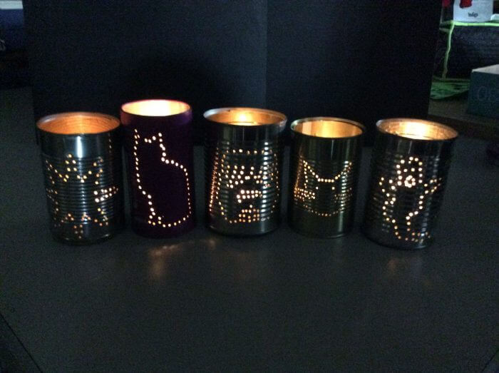 Sustainable recycled tin can Halloween lantern crafts