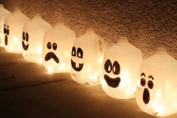 recycled sustainable Halloween crafts milk carton bottle ghosts monsters