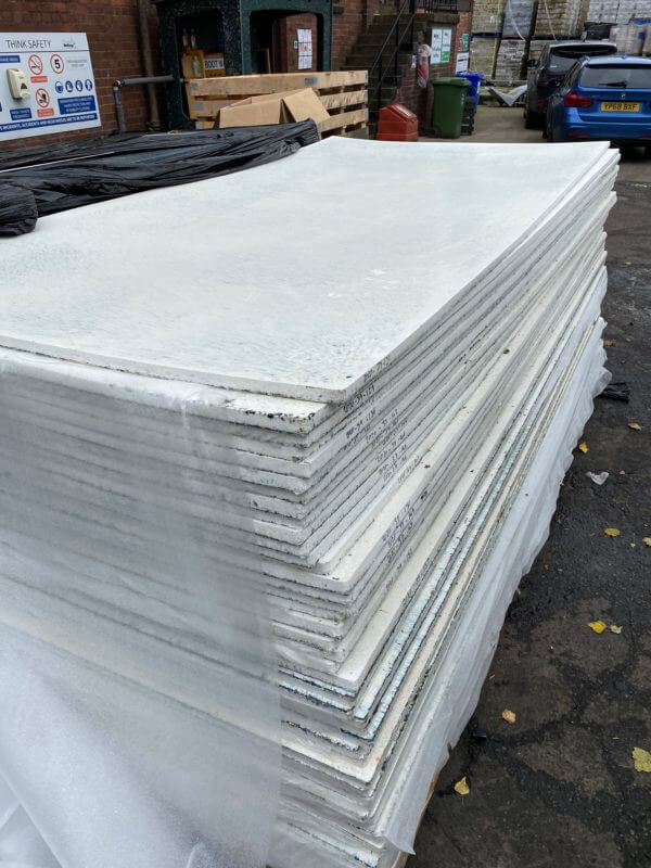 white recycling plastic shop fitting boards