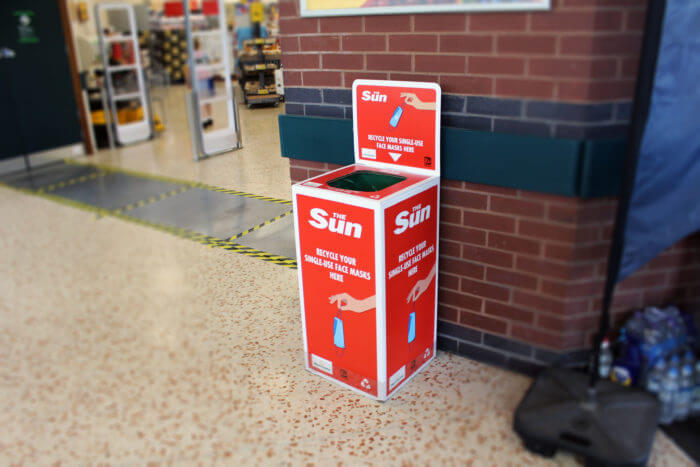 The Sun facemask recycling box mask force morrisons
