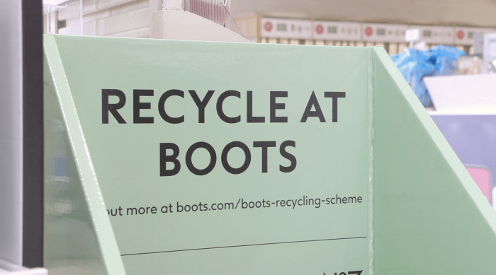 Recycle at Boots box